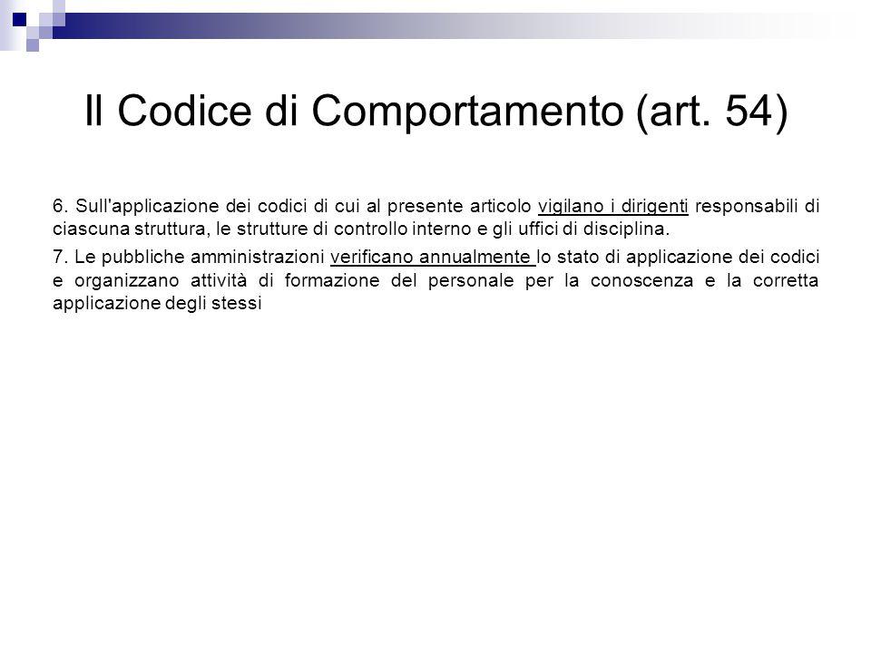 Il Codice di Comportamento (art. 54) 6. Sull'applicazione dei codici di cui al presente articolo vigilano i dirigenti responsabili di ciascuna struttu