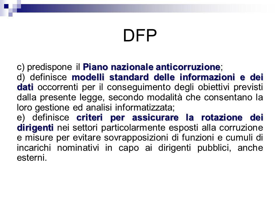 DFP Piano nazionale anticorruzione c) predispone il Piano nazionale anticorruzione; modelli standard delle informazioni e dei dati d) definisce modell