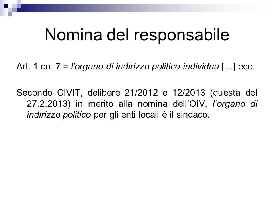 Nomina del responsabile Art. 1 co. 7 = l'organo di indirizzo politico individua […] ecc. Secondo CIVIT, delibere 21/2012 e 12/2013 (questa del 27.2.20