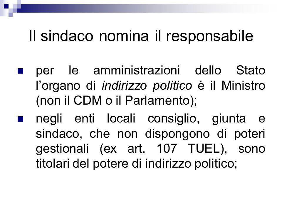 Il sindaco nomina il responsabile per le amministrazioni dello Stato l'organo di indirizzo politico è il Ministro (non il CDM o il Parlamento); negli