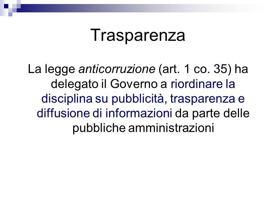 Trasparenza La legge anticorruzione (art. 1 co. 35) ha delegato il Governo a riordinare la disciplina su pubblicità, trasparenza e diffusione di infor