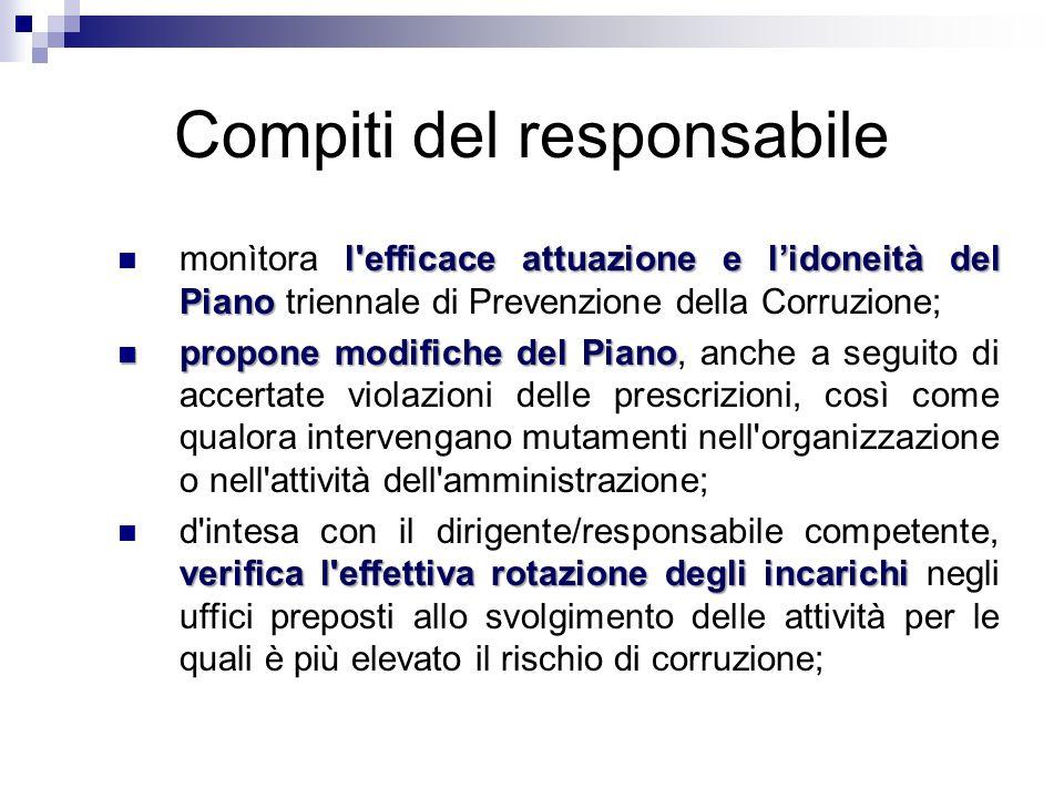 Compiti del responsabile l'efficace attuazione e l'idoneità del Piano monìtora l'efficace attuazione e l'idoneità del Piano triennale di Prevenzione d
