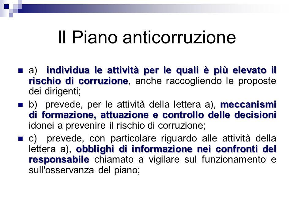 Il Piano anticorruzione individua le attività per le quali è più elevato il rischio di corruzione a) individua le attività per le quali è più elevato