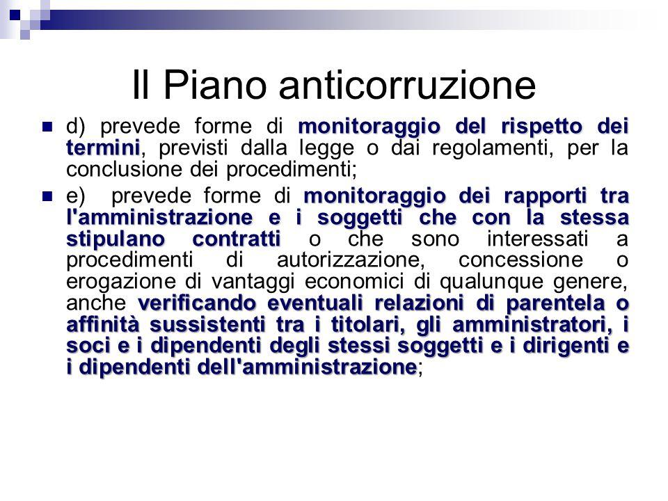 Il Piano anticorruzione monitoraggio del rispetto dei termini d) prevede forme di monitoraggio del rispetto dei termini, previsti dalla legge o dai re