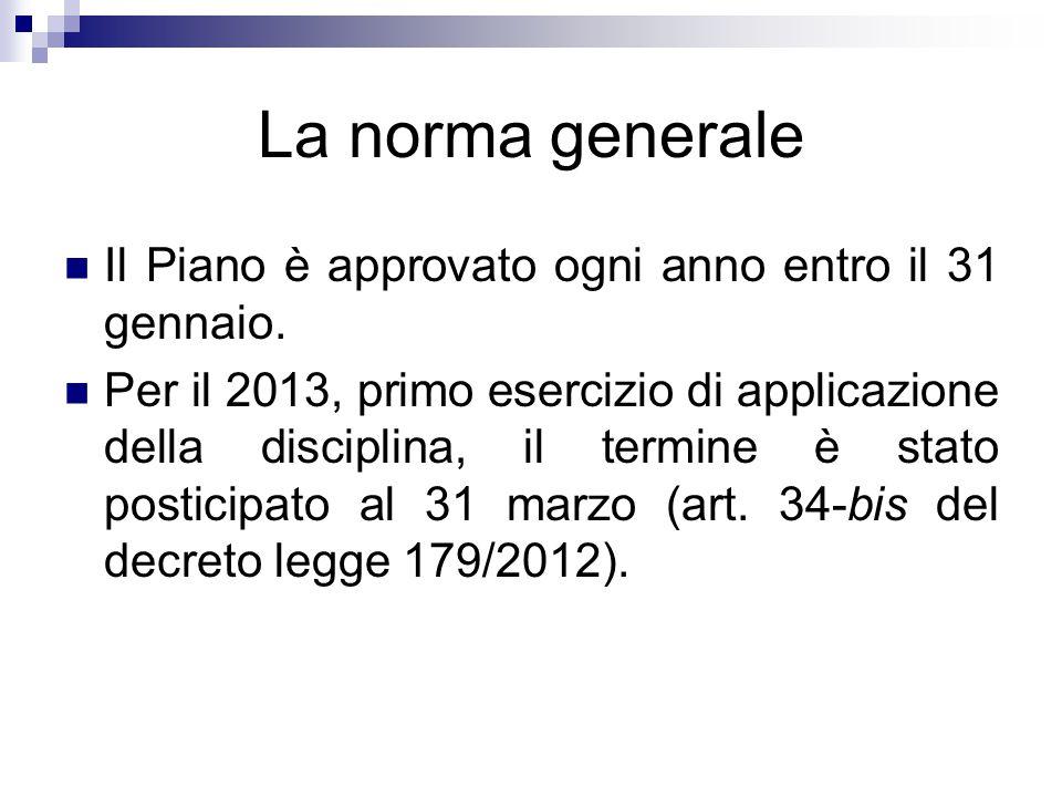 La norma generale Il Piano è approvato ogni anno entro il 31 gennaio. Per il 2013, primo esercizio di applicazione della disciplina, il termine è stat