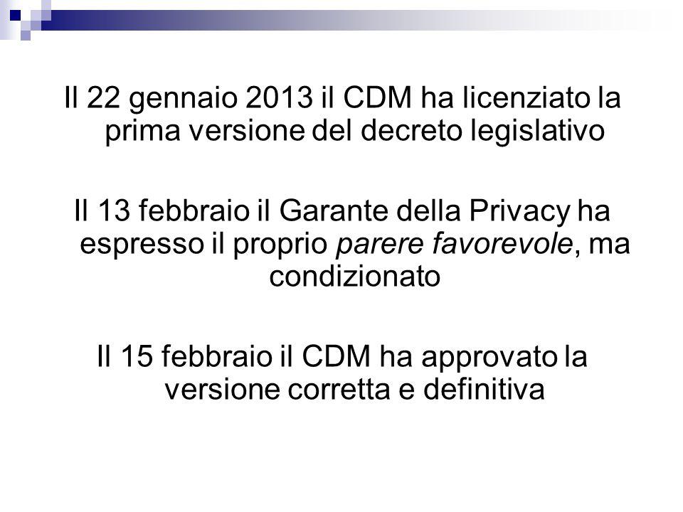 Il 22 gennaio 2013 il CDM ha licenziato la prima versione del decreto legislativo Il 13 febbraio il Garante della Privacy ha espresso il proprio parer