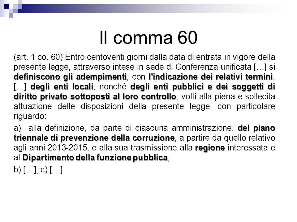 Il comma 60 definiscono gli adempimentil'indicazione dei relativi termini degli enti localidegli enti pubblici e dei soggetti di diritto privato sotto