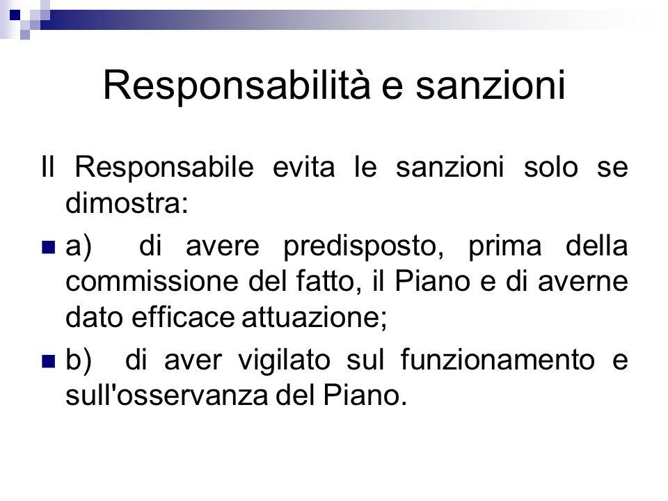 Responsabilità e sanzioni Il Responsabile evita le sanzioni solo se dimostra: a) di avere predisposto, prima della commissione del fatto, il Piano e d