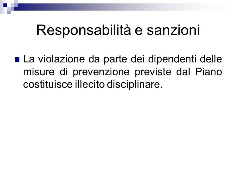 Responsabilità e sanzioni La violazione da parte dei dipendenti delle misure di prevenzione previste dal Piano costituisce illecito disciplinare.
