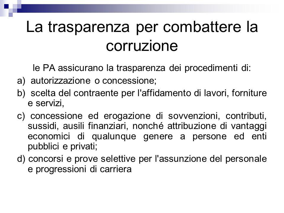 La trasparenza per combattere la corruzione le PA assicurano la trasparenza dei procedimenti di: a) autorizzazione o concessione; b) scelta del contra