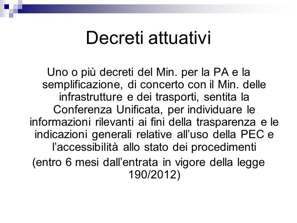 Decreti attuativi Uno o più decreti del Min. per la PA e la semplificazione, di concerto con il Min. delle infrastrutture e dei trasporti, sentita la