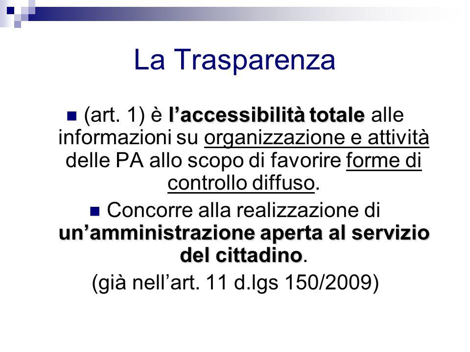 La Trasparenza l'accessibilità totale (art. 1) è l'accessibilità totale alle informazioni su organizzazione e attività delle PA allo scopo di favorire