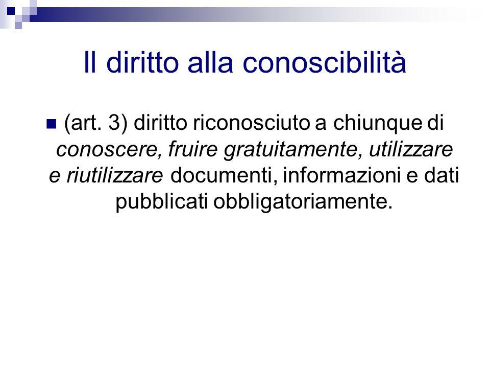 Il diritto alla conoscibilità (art. 3) diritto riconosciuto a chiunque di conoscere, fruire gratuitamente, utilizzare e riutilizzare documenti, inform