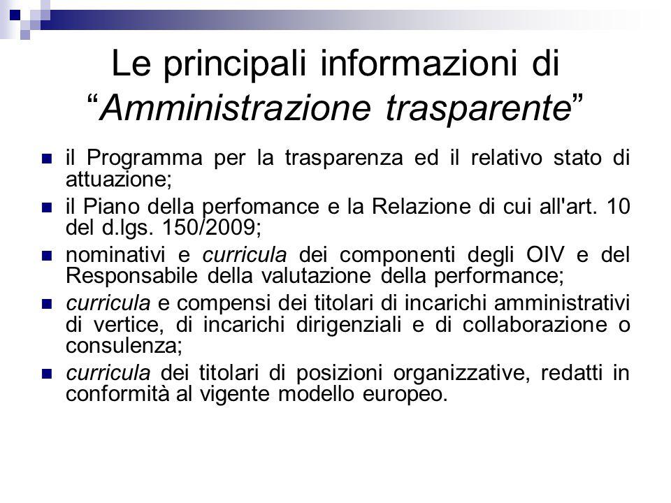 """Le principali informazioni di """"Amministrazione trasparente"""" il Programma per la trasparenza ed il relativo stato di attuazione; il Piano della perfoma"""
