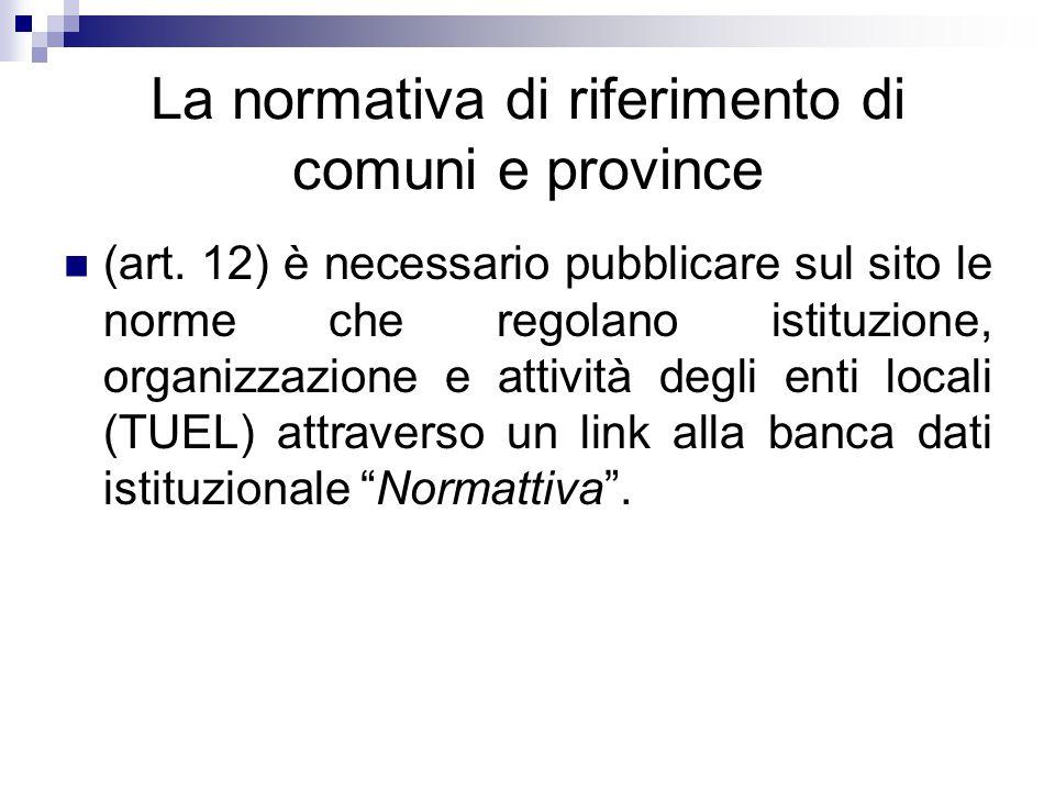 La normativa di riferimento di comuni e province (art. 12) è necessario pubblicare sul sito le norme che regolano istituzione, organizzazione e attivi