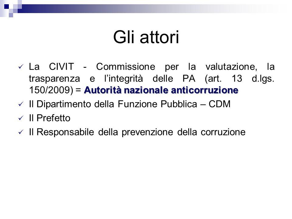 Gli attori Autorità nazionale anticorruzione La CIVIT - Commissione per la valutazione, la trasparenza e l'integrità delle PA (art. 13 d.lgs. 150/2009