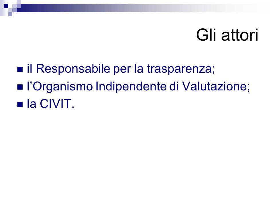 Gli attori il Responsabile per la trasparenza; l'Organismo Indipendente di Valutazione; la CIVIT.