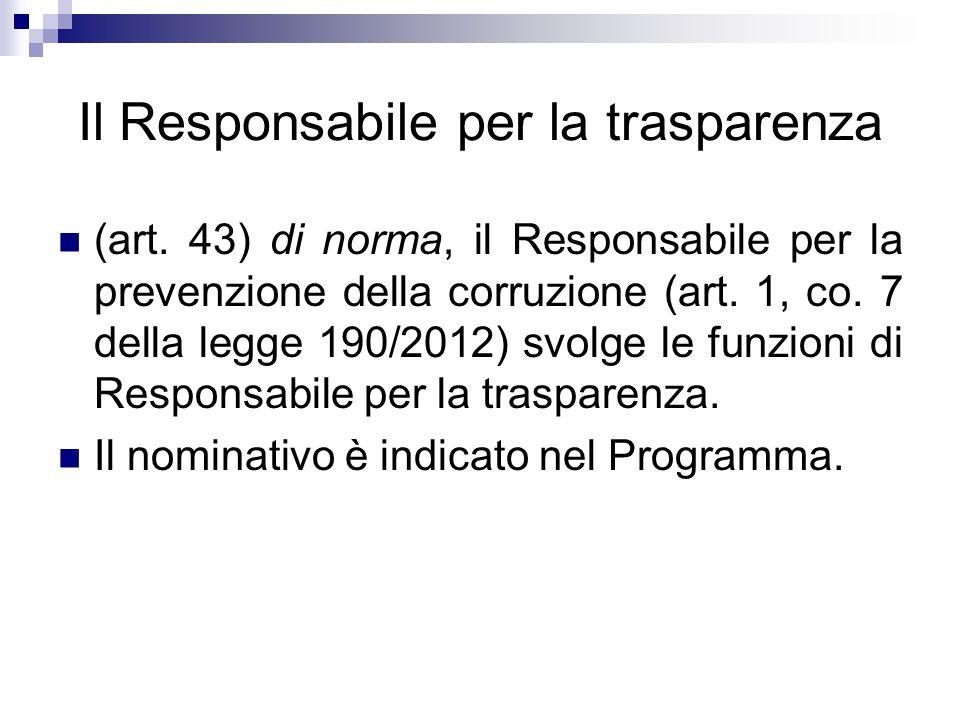 Il Responsabile per la trasparenza (art. 43) di norma, il Responsabile per la prevenzione della corruzione (art. 1, co. 7 della legge 190/2012) svolge