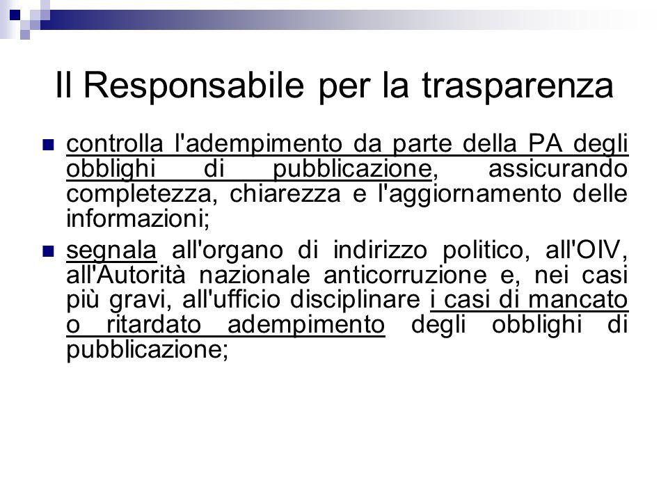 Il Responsabile per la trasparenza controlla l'adempimento da parte della PA degli obblighi di pubblicazione, assicurando completezza, chiarezza e l'a