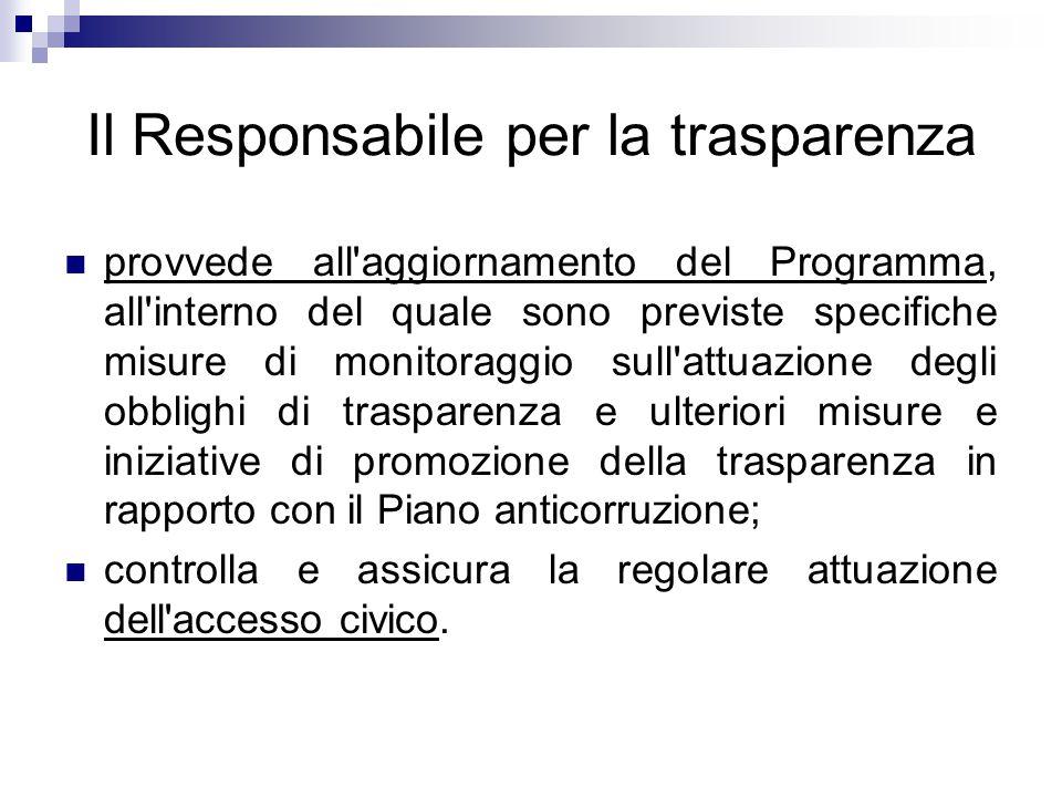 Il Responsabile per la trasparenza provvede all'aggiornamento del Programma, all'interno del quale sono previste specifiche misure di monitoraggio sul