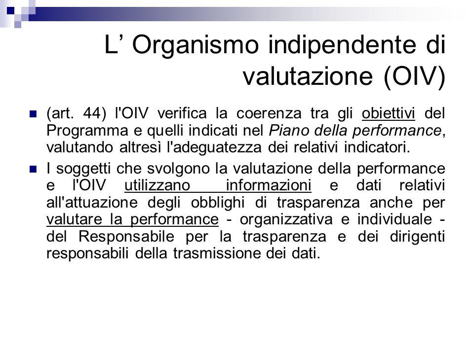 L' Organismo indipendente di valutazione (OIV) (art. 44) l'OIV verifica la coerenza tra gli obiettivi del Programma e quelli indicati nel Piano della