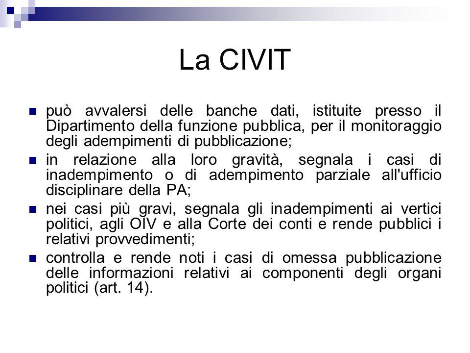 La CIVIT può avvalersi delle banche dati, istituite presso il Dipartimento della funzione pubblica, per il monitoraggio degli adempimenti di pubblicaz