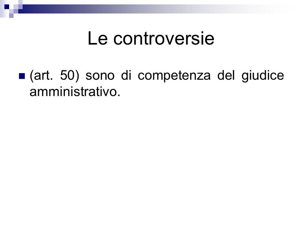 Le controversie (art. 50) sono di competenza del giudice amministrativo.