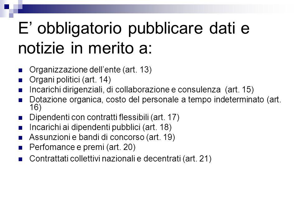 E' obbligatorio pubblicare dati e notizie in merito a: Organizzazione dell'ente (art. 13) Organi politici (art. 14) Incarichi dirigenziali, di collabo