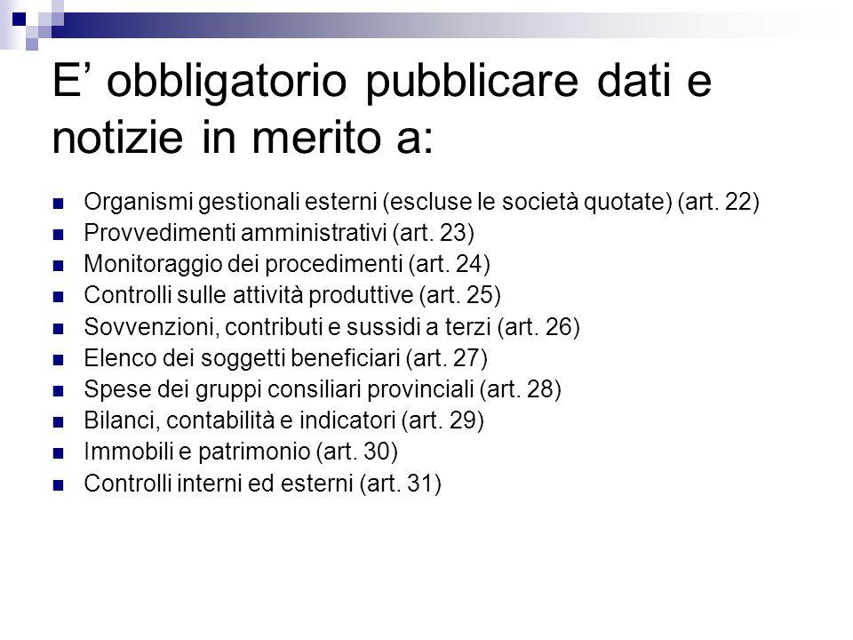 E' obbligatorio pubblicare dati e notizie in merito a: Organismi gestionali esterni (escluse le società quotate) (art. 22) Provvedimenti amministrativ