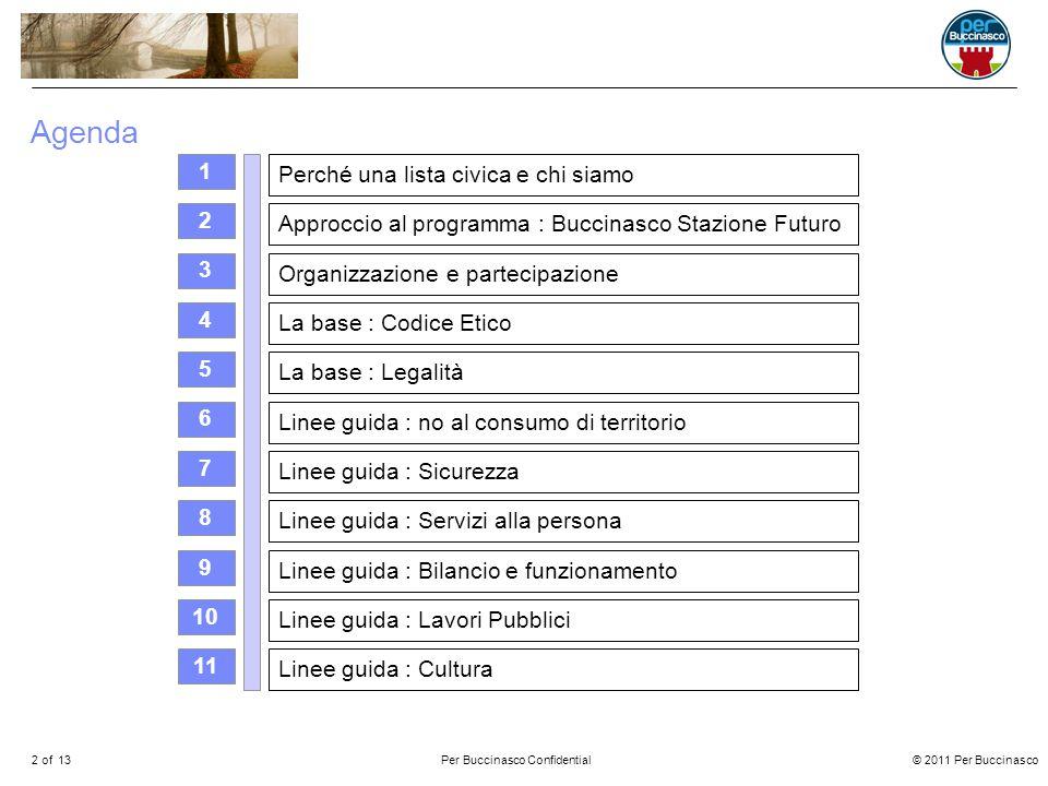 © 2011 Per Buccinasco2 of 13Per Buccinasco Confidential Agenda 3 2 Perché una lista civica e chi siamo 1 Approccio al programma : Buccinasco Stazione Futuro La base : Codice Etico La base : Legalità Linee guida : no al consumo di territorio Linee guida : Sicurezza Linee guida : Servizi alla persona Linee guida : Lavori Pubblici Linee guida : Bilancio e funzionamento Organizzazione e partecipazione Linee guida : Cultura 4 5 6 7 8 9 10 11
