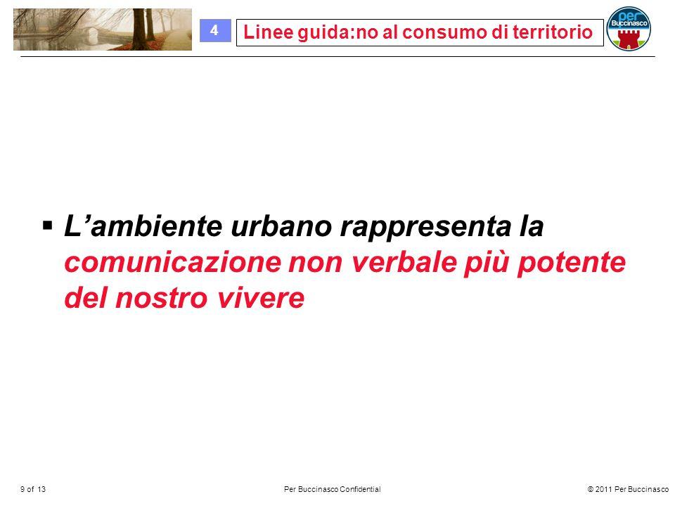 © 2011 Per Buccinasco9 of 13Per Buccinasco Confidential  L'ambiente urbano rappresenta la comunicazione non verbale più potente del nostro vivere Linee guida:no al consumo di territorio 4