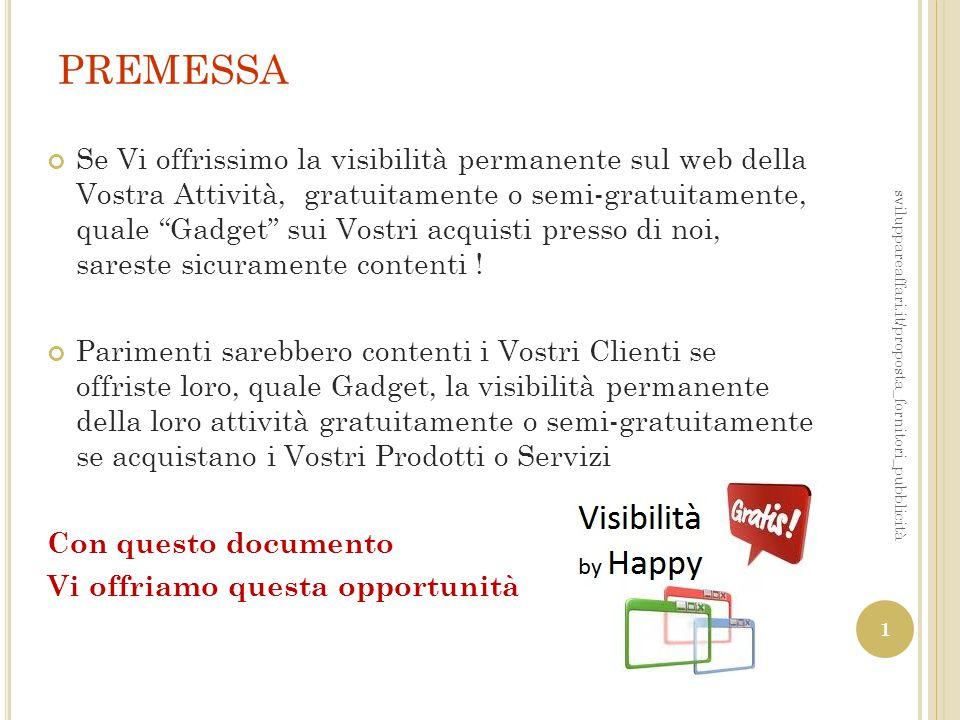 """PREMESSA Se Vi offrissimo la visibilità permanente sul web della Vostra Attività, gratuitamente o semi-gratuitamente, quale """"Gadget"""" sui Vostri acquis"""