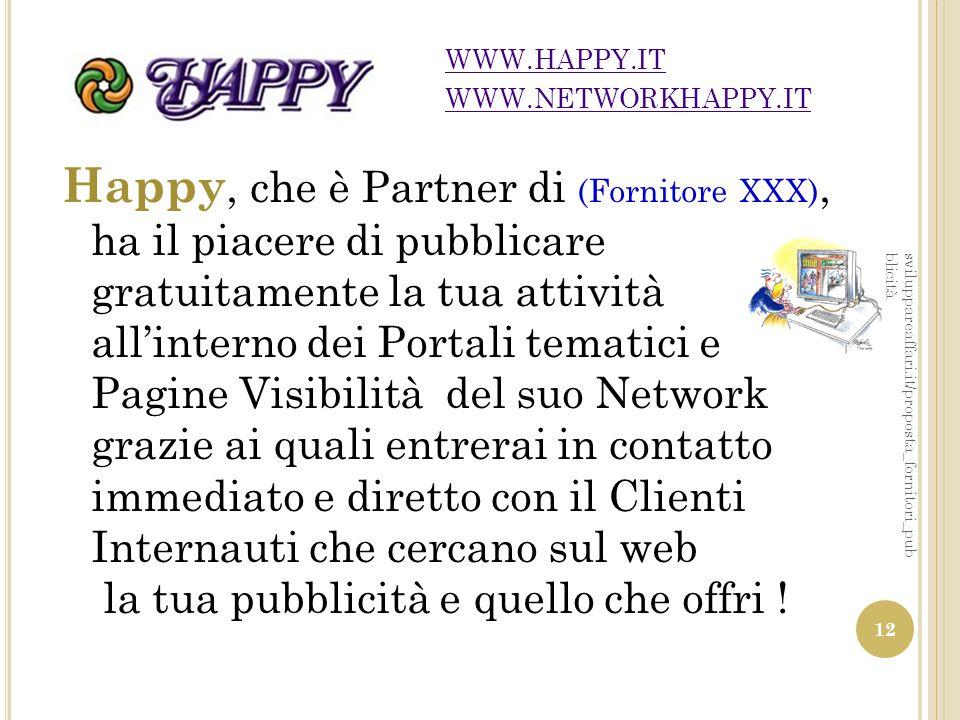 Happy, che è Partner di (Fornitore XXX), ha il piacere di pubblicare gratuitamente la tua attività all'interno dei Portali tematici e Pagine Visibilit