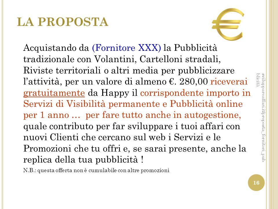 LA PROPOSTA Acquistando da (Fornitore XXX) la Pubblicità tradizionale con Volantini, Cartelloni stradali, Riviste territoriali o altri media per pubbl