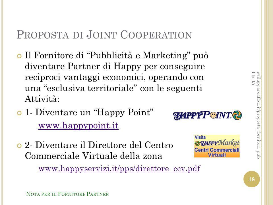 """P ROPOSTA DI J OINT C OOPERATION Il Fornitore di """"Pubblicità e Marketing"""" può diventare Partner di Happy per conseguire reciproci vantaggi economici,"""