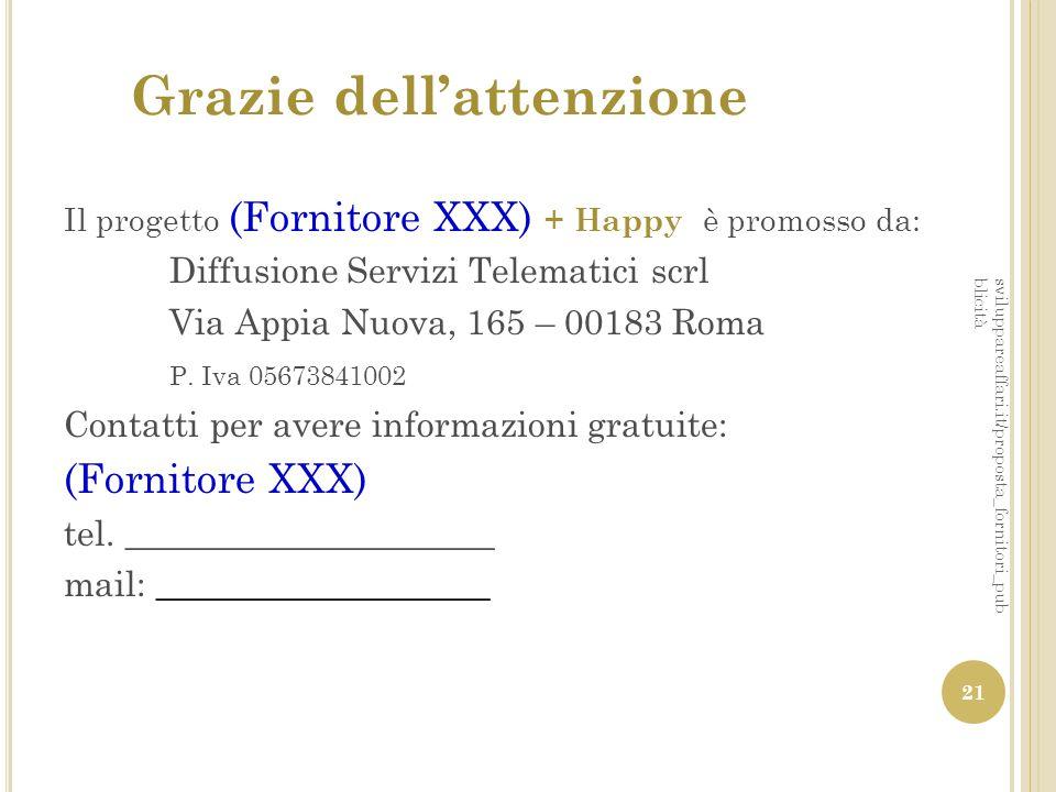 Grazie dell'attenzione Il progetto (Fornitore XXX) + Happy è promosso da: Diffusione Servizi Telematici scrl Via Appia Nuova, 165 – 00183 Roma P. Iva