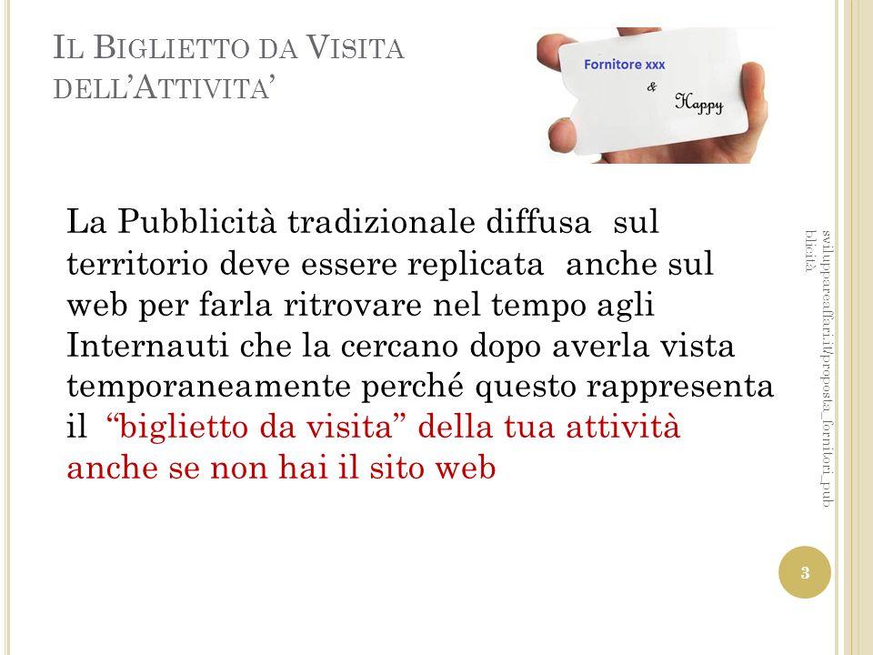 I L B IGLIETTO DA V ISITA DELL 'A TTIVITA ' La Pubblicità tradizionale diffusa sul territorio deve essere replicata anche sul web per farla ritrovare