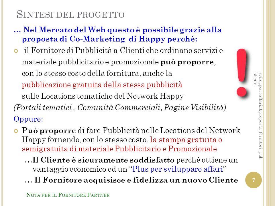 P ROPOSTA DI J OINT C OOPERATION Il Fornitore di Pubblicità e Marketing può diventare Partner di Happy per conseguire reciproci vantaggi economici, operando con una esclusiva territoriale con le seguenti Attività: 1- Diventare un Happy Point www.happypoint.it 2- Diventare il Direttore del Centro Commerciale Virtuale della zona www.happyservizi.it/pps/direttore_ccv.pdf sviluppareaffari.it/proposta_fornitori_pub blicità N OTA PER IL F ORNITORE P ARTNER 18