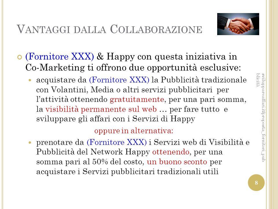 V ANTAGGI DALLA C OLLABORAZIONE (Fornitore XXX) & Happy con questa iniziativa in Co-Marketing ti offrono due opportunità esclusive: acquistare da (For