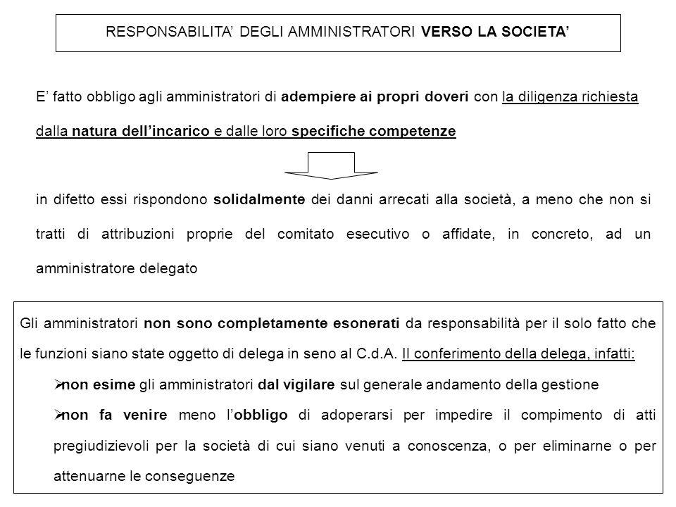 RESPONSABILITA' DEGLI AMMINISTRATORI VERSO LA SOCIETA' E' fatto obbligo agli amministratori di adempiere ai propri doveri con la diligenza richiesta d