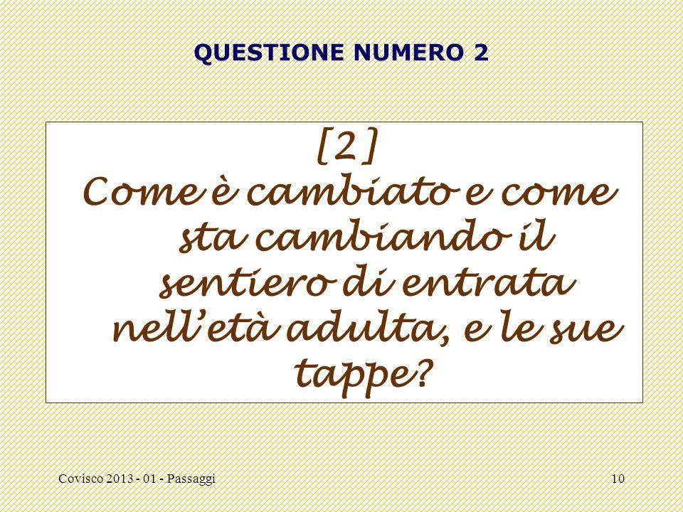 Covisco 2013 - 01 - Passaggi10 QUESTIONE NUMERO 2 [2] Come è cambiato e come sta cambiando il sentiero di entrata nell'età adulta, e le sue tappe