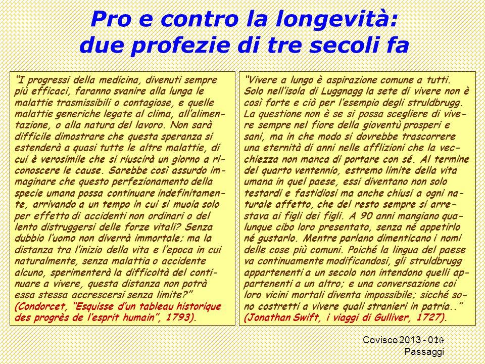 """Covisco 2013 - 01 - Passaggi Pro e contro la longevità: due profezie di tre secoli fa """"I progressi della medicina, divenuti sempre più efficaci, faran"""