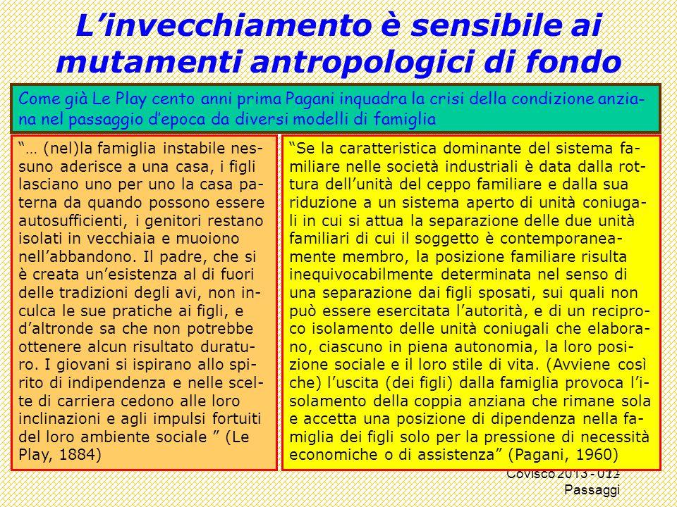 """Covisco 2013 - 01 - Passaggi L'invecchiamento è sensibile ai mutamenti antropologici di fondo """"… (nel)la famiglia instabile nes- suno aderisce a una c"""
