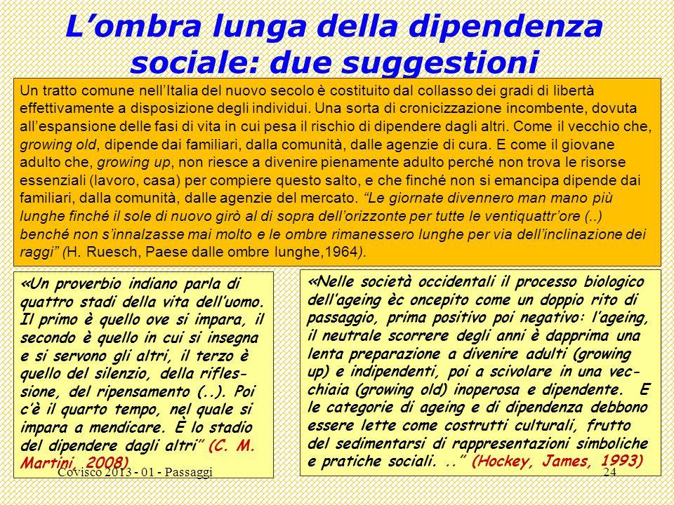 """L'ombra lunga della dipendenza sociale: due suggestioni """""""" (Carlo M. Martini, ). Un tratto comune nell'Italia del nuovo secolo è costituito dal collas"""