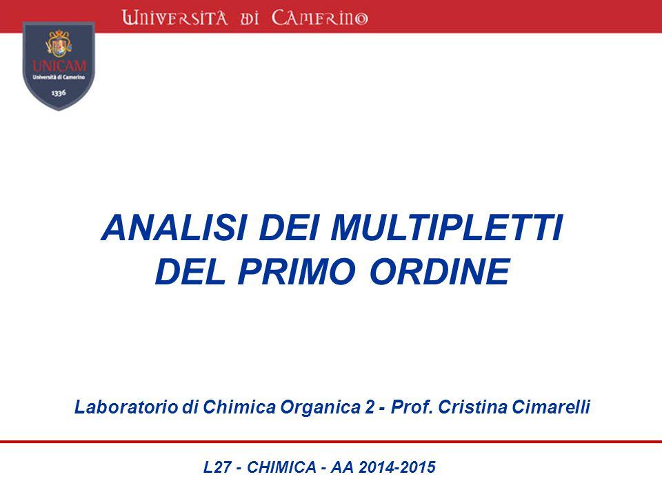 ANALISI DEI MULTIPLETTI DEL PRIMO ORDINE Laboratorio di Chimica Organica 2 - Prof. Cristina Cimarelli L27 - CHIMICA - AA 2014-2015