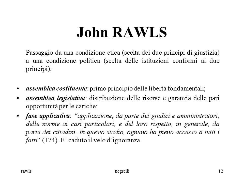 rawlsnegrelli12 John RAWLS Passaggio da una condizione etica (scelta dei due principi di giustizia) a una condizione politica (scelta delle istituzion