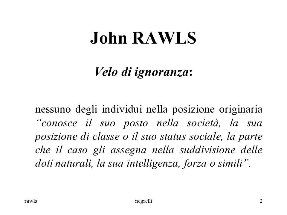 rawlsnegrelli3 John RAWLS Giustizia come equità: la giustizia è frutto di una scelta compiuta da individui in condizioni di equità (accordo tra persone morali: razionali, libere ed eguali) (imperativi categorici e non quelli ipotetici degli utilitaristi).