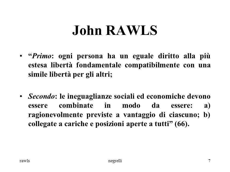 rawlsnegrelli8 John RAWLS Libertà fondamentali civili e politiche (prioritarie e inviolabili): -politica (diritto di voto, attivo e passivo) -di parola e riunione -di coscienza e di pensiero -personale e di possesso di proprietà personale -dall'arresto e dalla detenzione arbitrari