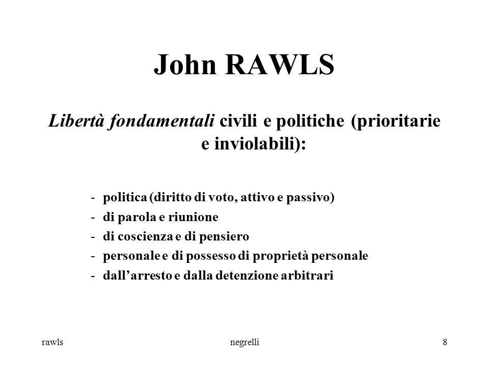 rawlsnegrelli9 John RAWLS Differenze e ineguaglianze nella distribuzione del reddito sono ingiuste se arrecano danno a qualcuno; sono ammesse se portano vantaggi non a pochi o a molti, ma a tutti, e in particolare ai meno avvantaggiati.