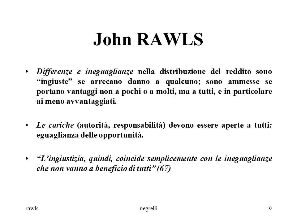 rawlsnegrelli10 John RAWLS Gruppo meno favorito : chi si trova in condizioni economiche precarie o chi per ragioni naturali, non dipendenti dalla società, sono meno avvantaggiati rispetto alla media (svantaggi immeritati ).